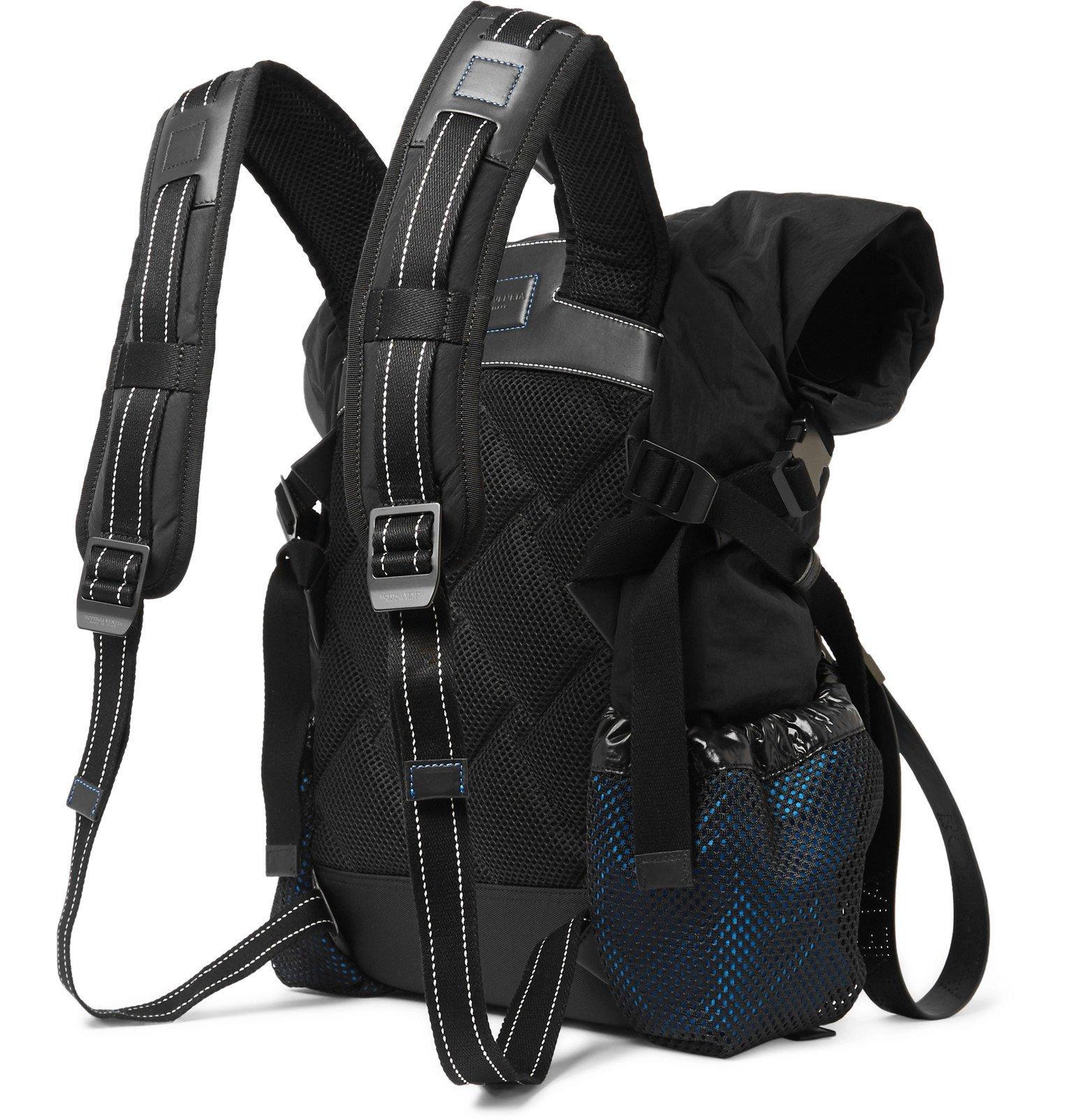 Bottega Veneta - Leather-Trimmed Nylon Backpack - Black