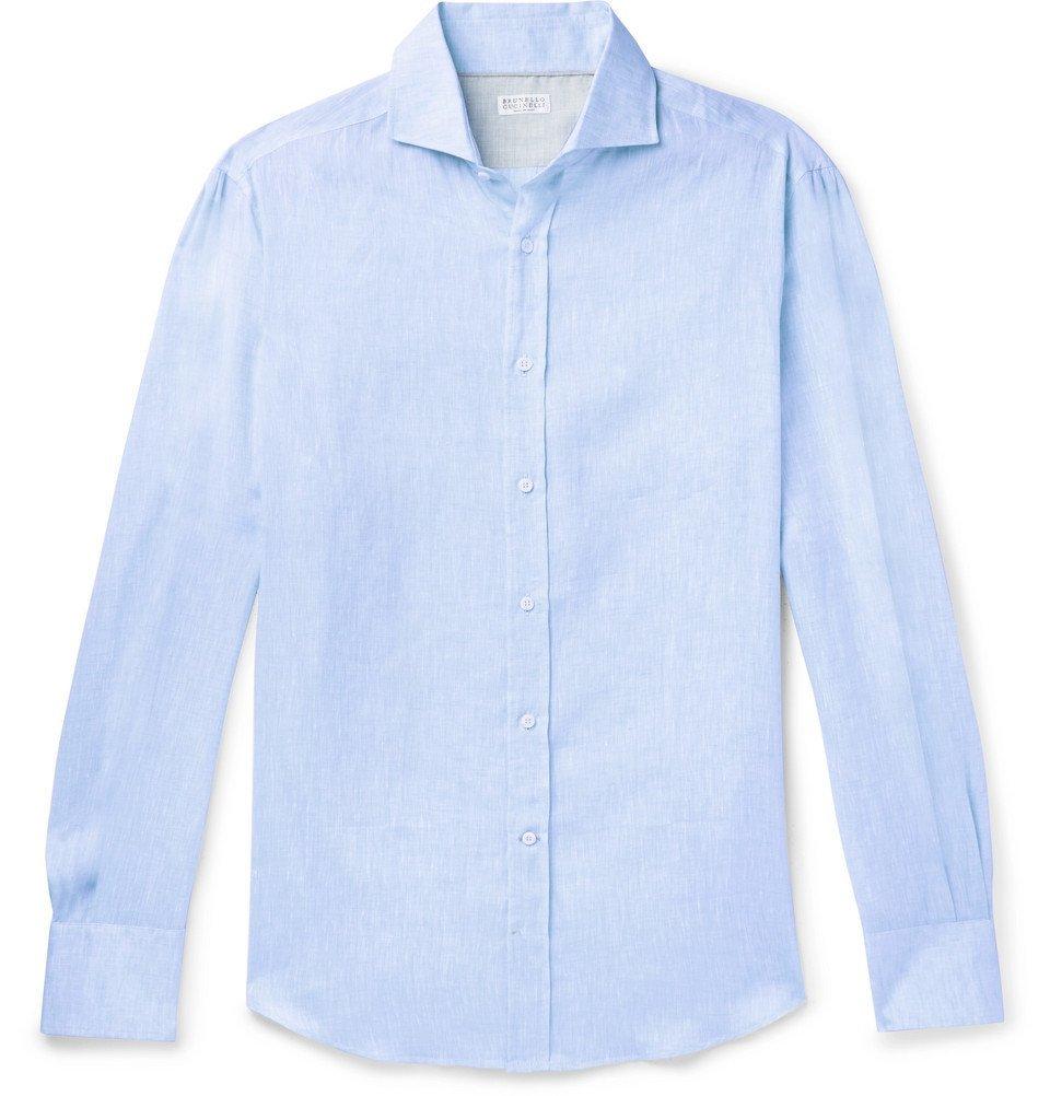 Photo: Brunello Cucinelli - Slim-Fit Cutaway-Collar Mélange Linen Shirt - Light blue