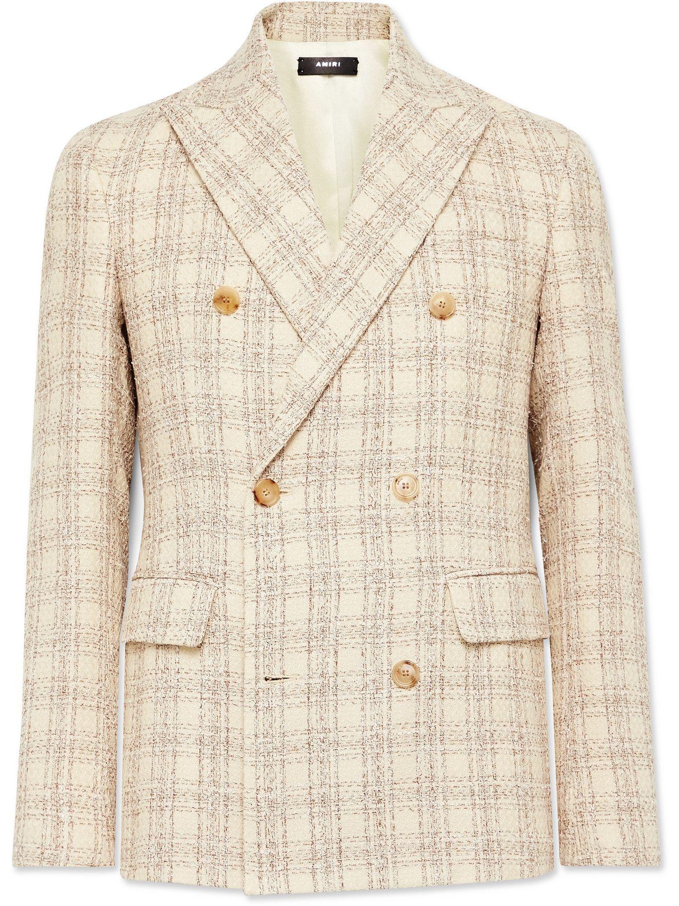 Photo: AMIRI - Double-Breasted Cotton-Blend Bouclé Blazer - Neutrals