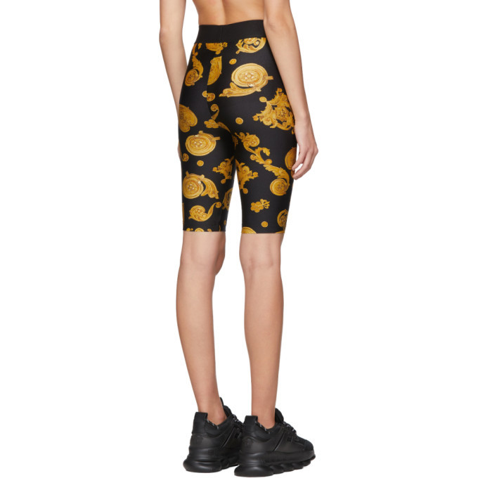 Versace Jeans Couture Black Baroque Jewels Bike Shorts