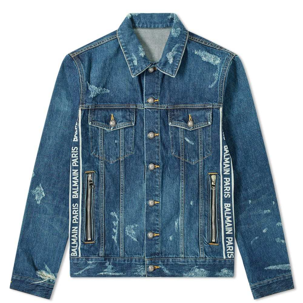 Photo: Balmain Taped Logo Distressed Denim Jacket Blue