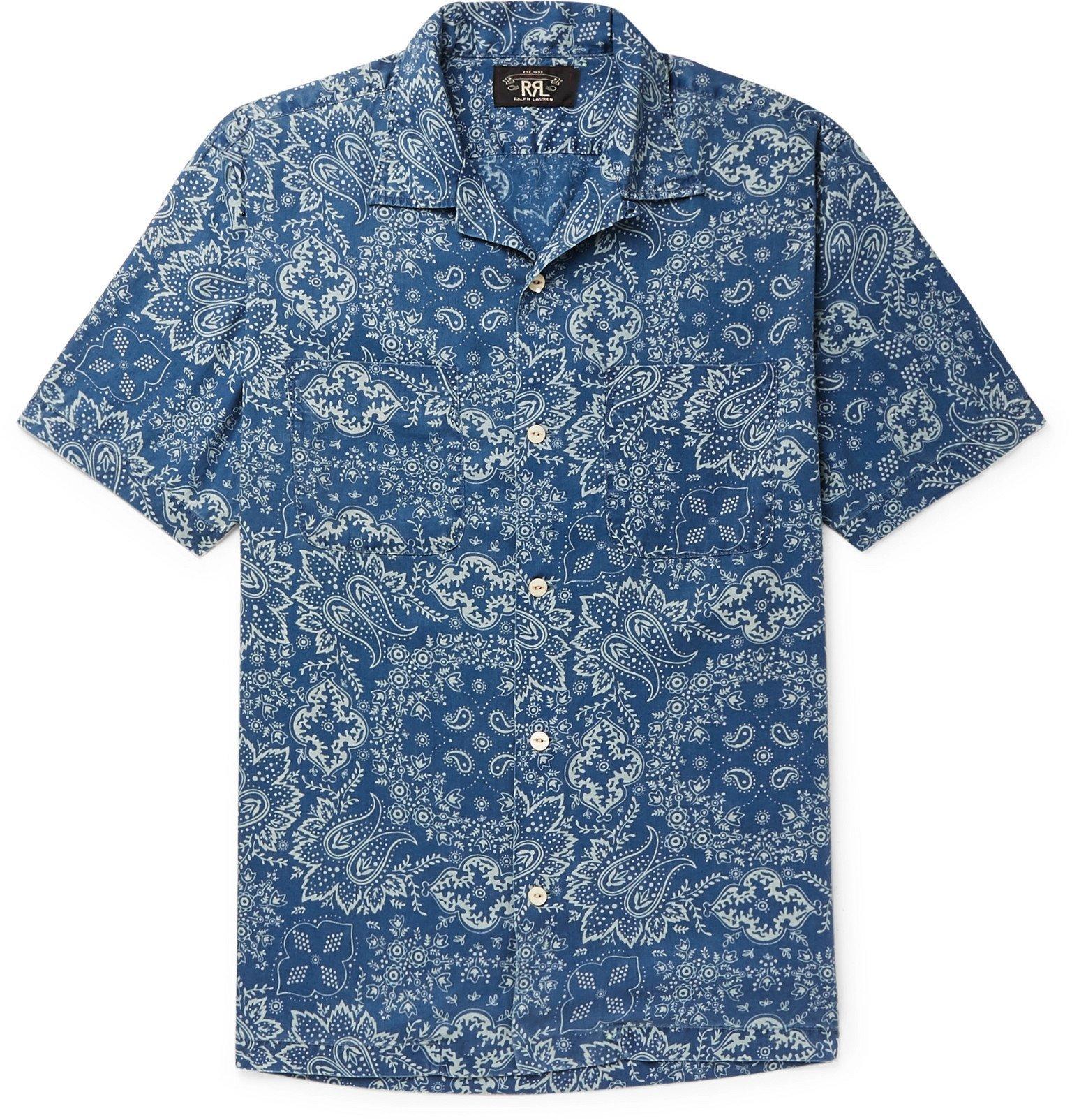 RRL - Camp-Collar Paisley-Print Lyocell Shirt - Blue