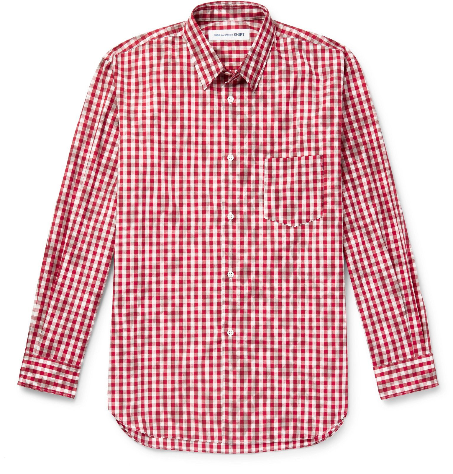 Photo: Comme des Garçons SHIRT - Printed Gingham Cotton Shirt - Red