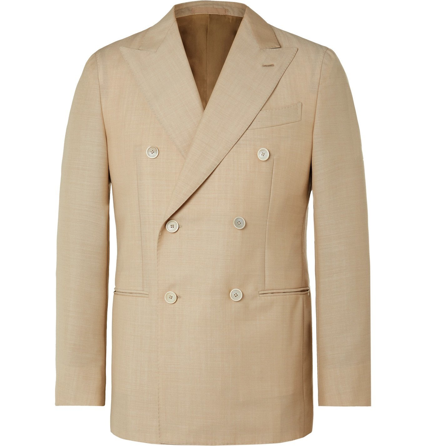 Photo: Caruso - Aida Double-Breasted Wool and Mohair-Blend Suit Jacket - Brown