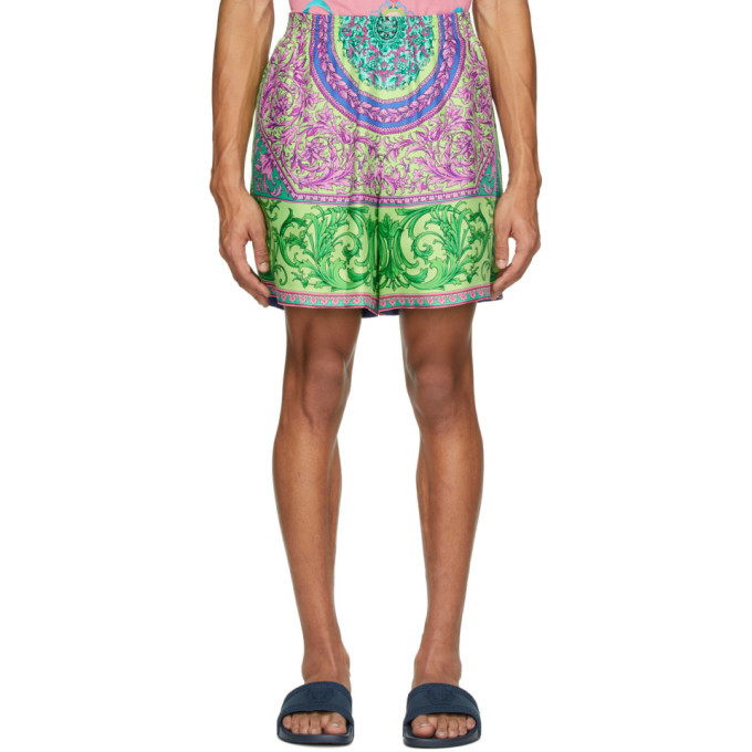 Photo: Versace Green and Multicolor Silk Shorts