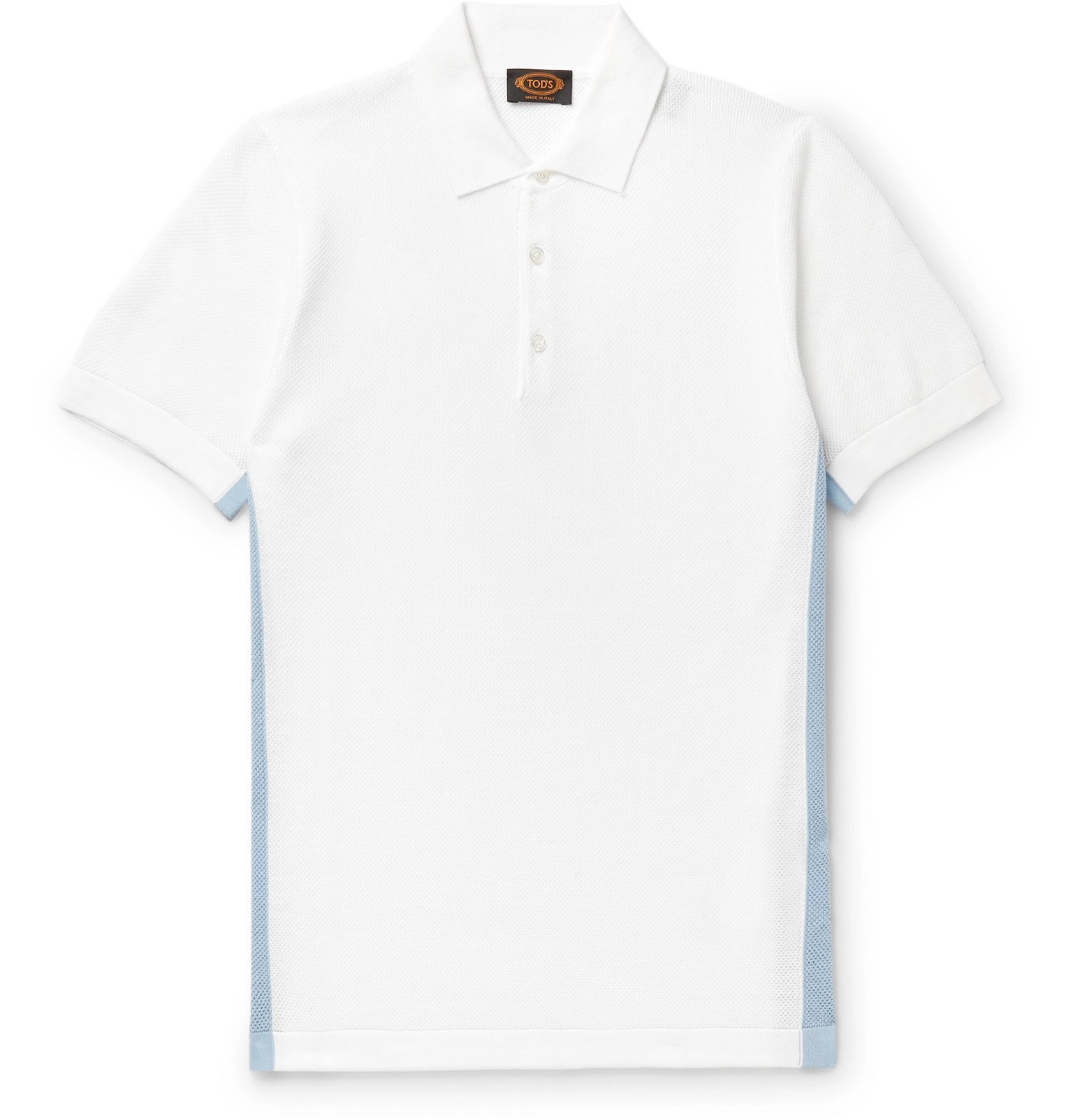 Photo: Tod's - Striped Cotton-Piqué Polo Shirt - White