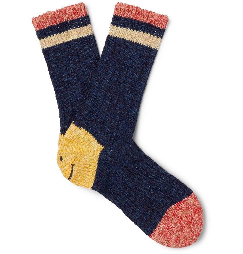 KAPITAL - Smiley Striped Mélange Cotton and Hemp-Blend Socks - Navy
