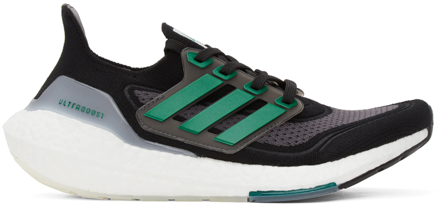 adidas Originals Black & Green Ultraboost 21 Sneakers