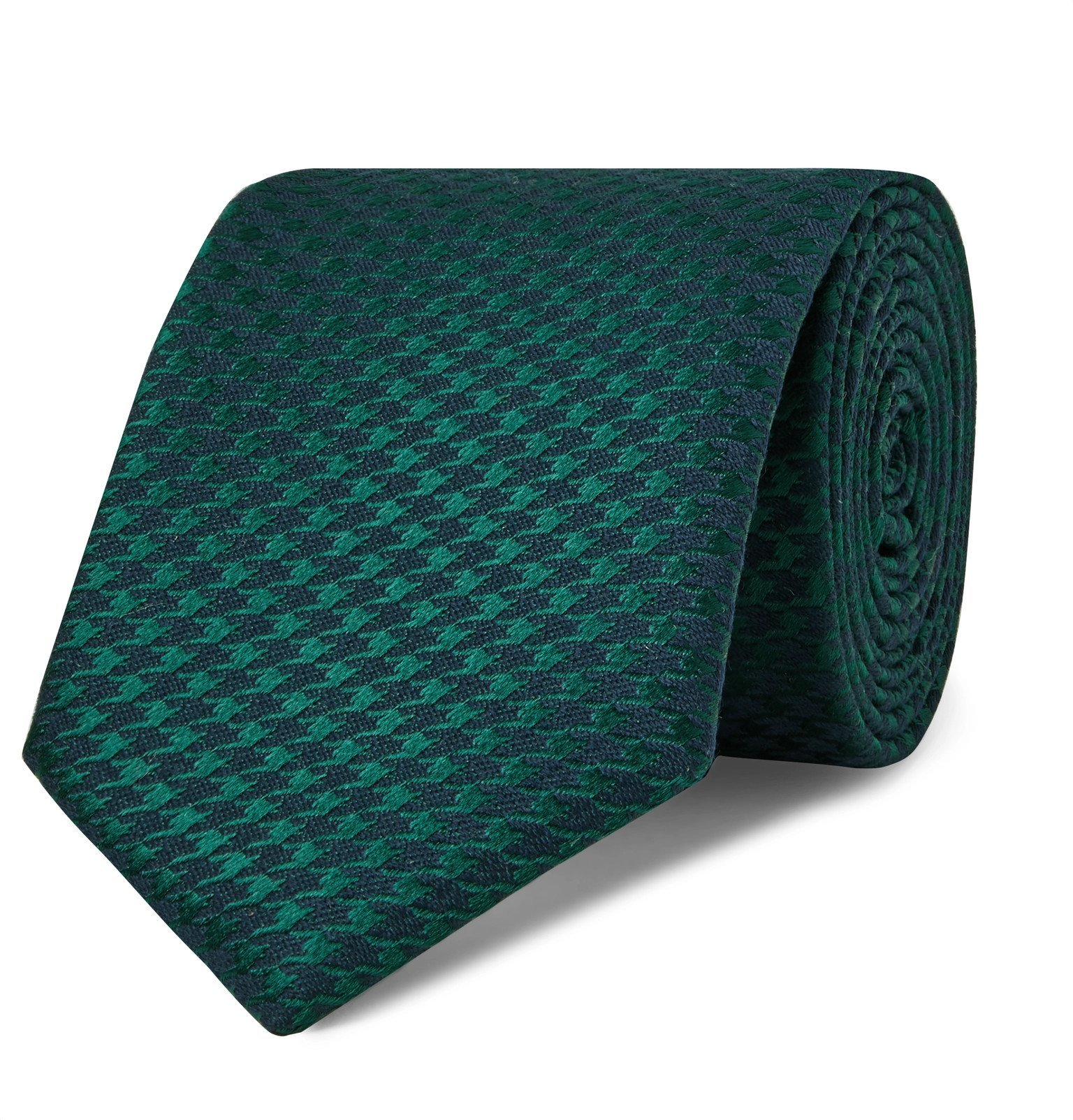 Photo: Charvet - 7.5cm Houndstooth Silk and Wool-Blend Tie - Green