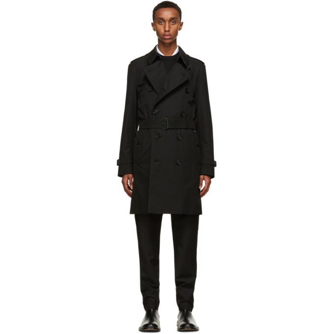 Photo: Burberry Black Kensington Heritage Mid-Length Trench Coat