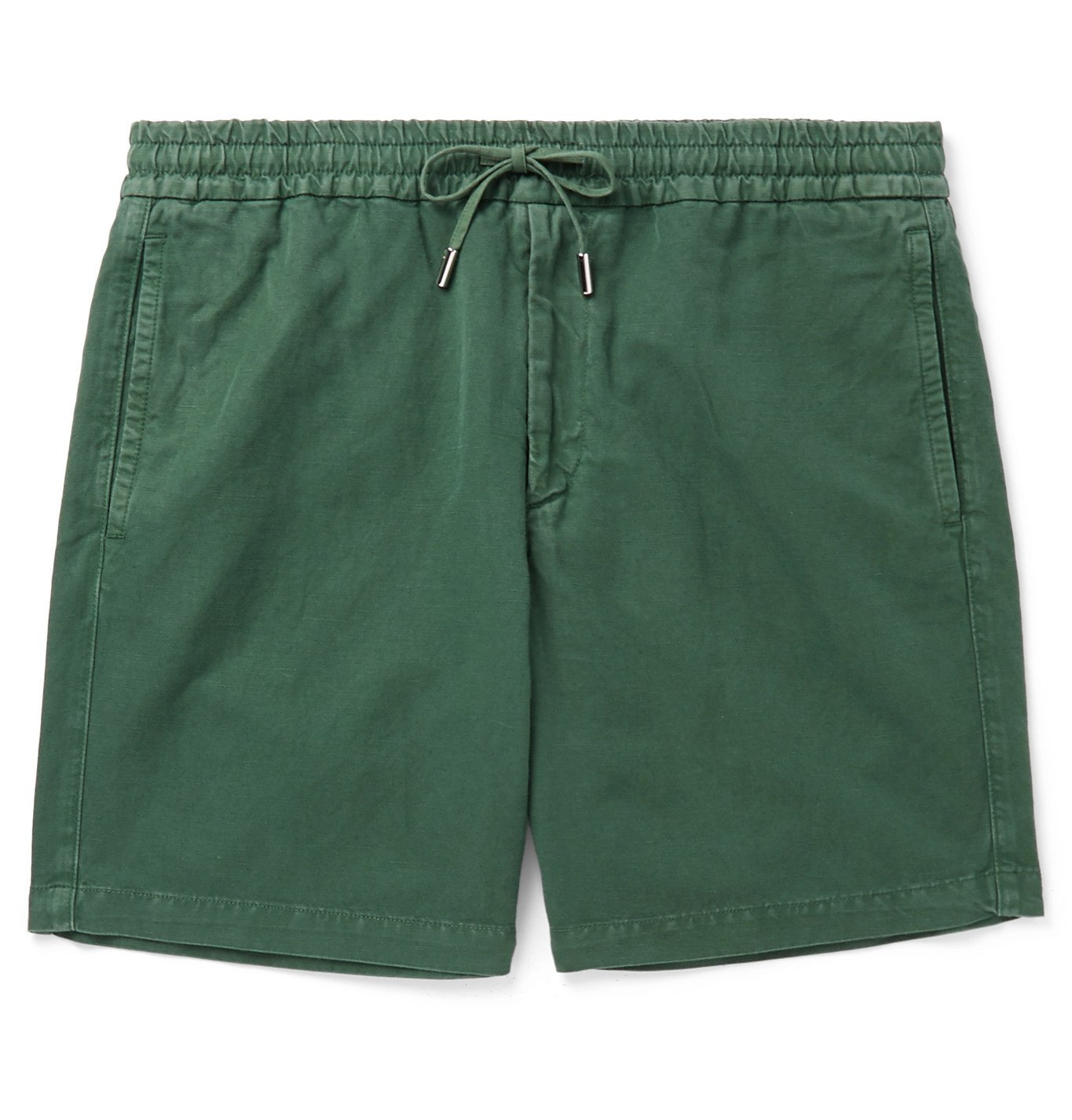 Photo: Mr P. - Linen and Cotton-Blend Drawstring Shorts - Green