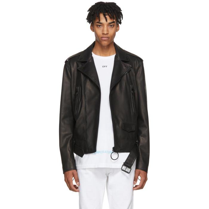 Photo: Off-White Black Leather Firetape Biker Jacket