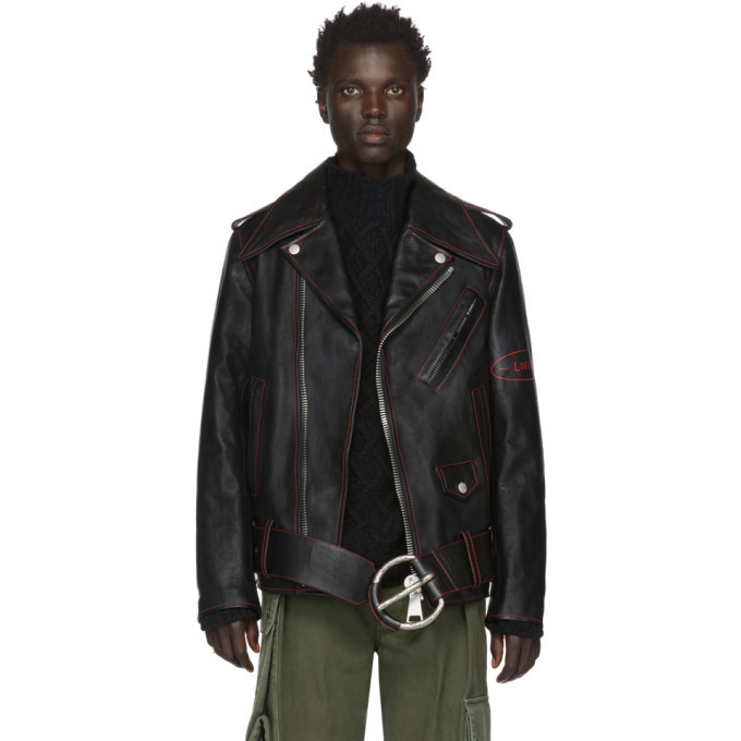 Photo: Loewe Black William De Morgan Leather Oversized Biker Jacket