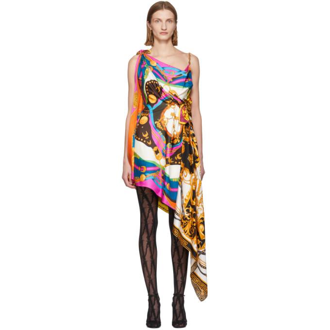 Versace Multicolor Mixed Print Draped Asymmetric Dress