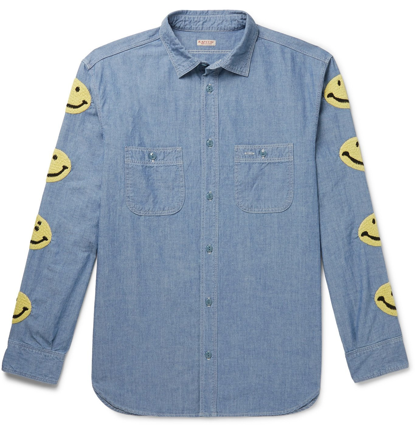 KAPITAL - Embroidered Cotton-Chambray Shirt - Black