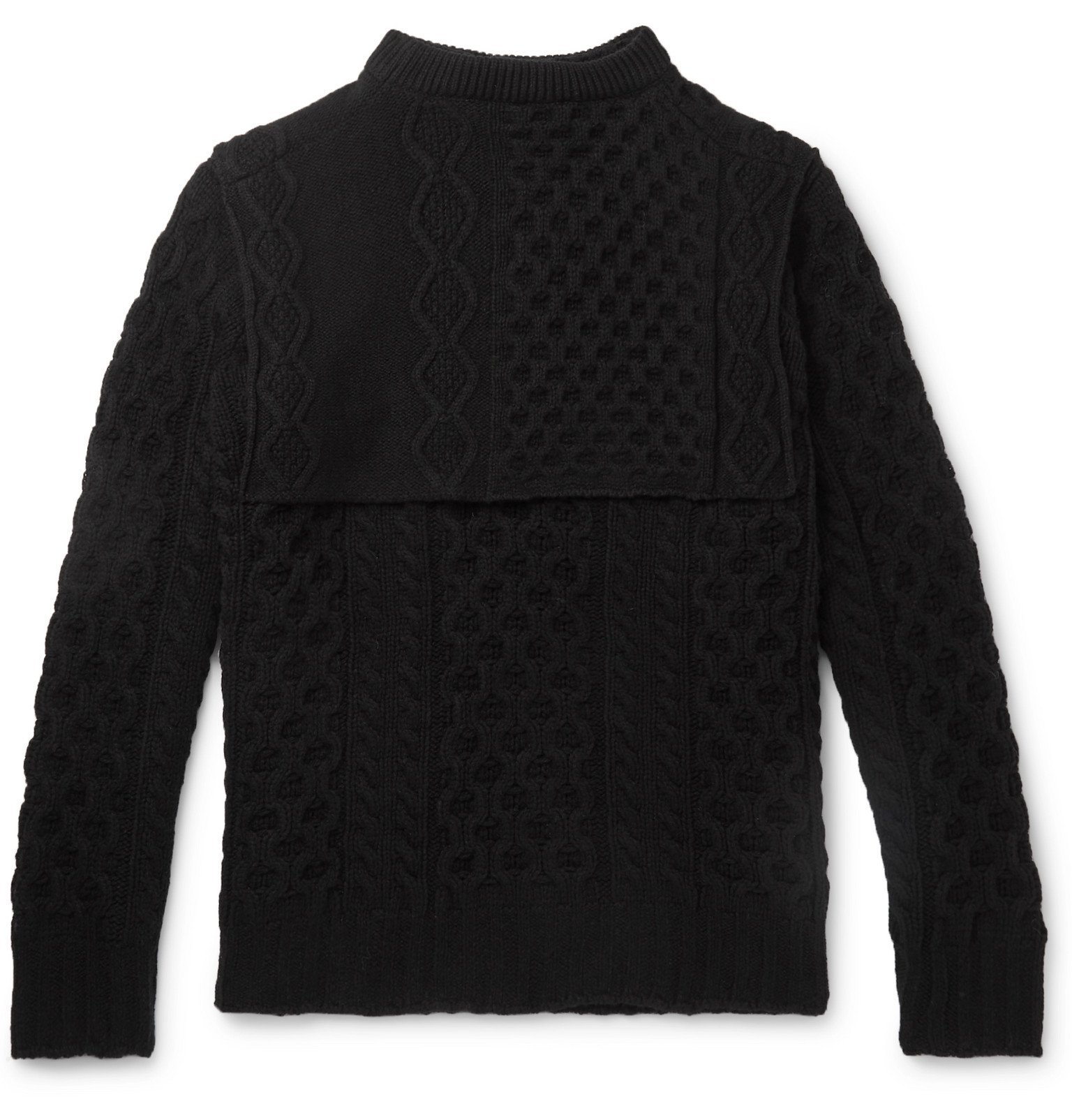 Photo: Raf Simons - Layered Cable-Knit Virgin Wool Sweater - Black