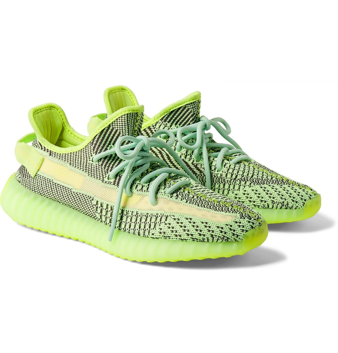 Photo: adidas Originals - Yeezy Boost 350 V2 Glow-in-the-Dark Primeknit and Mesh Sneakers - Green