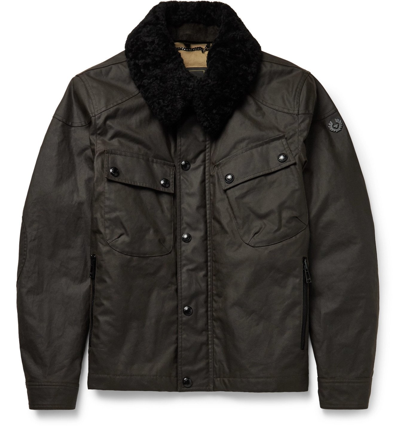 Belstaff - Patrol Shearling-Trimmed Waxed-Cotton Jacket - Brown