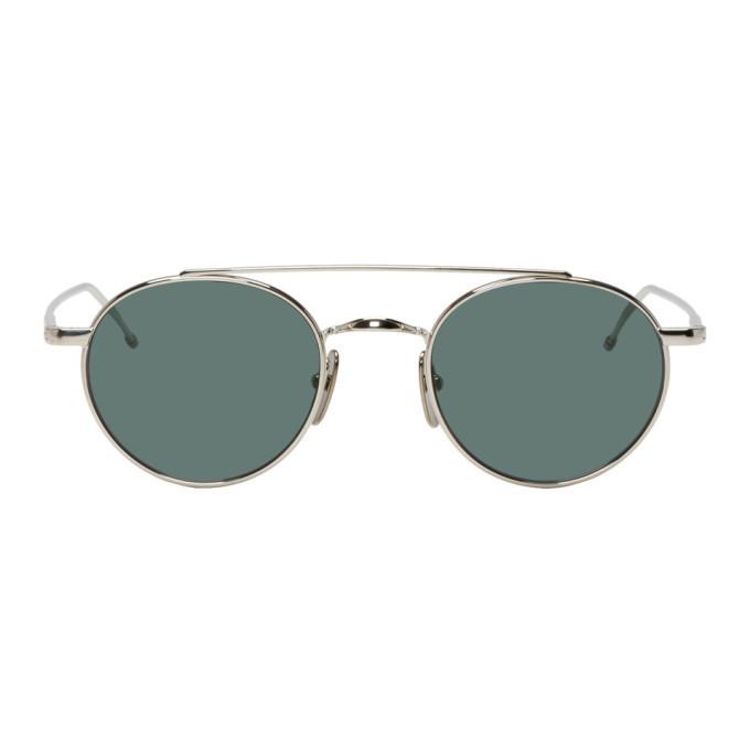 Photo: Thom Browne Silver TB-101 Sunglasses