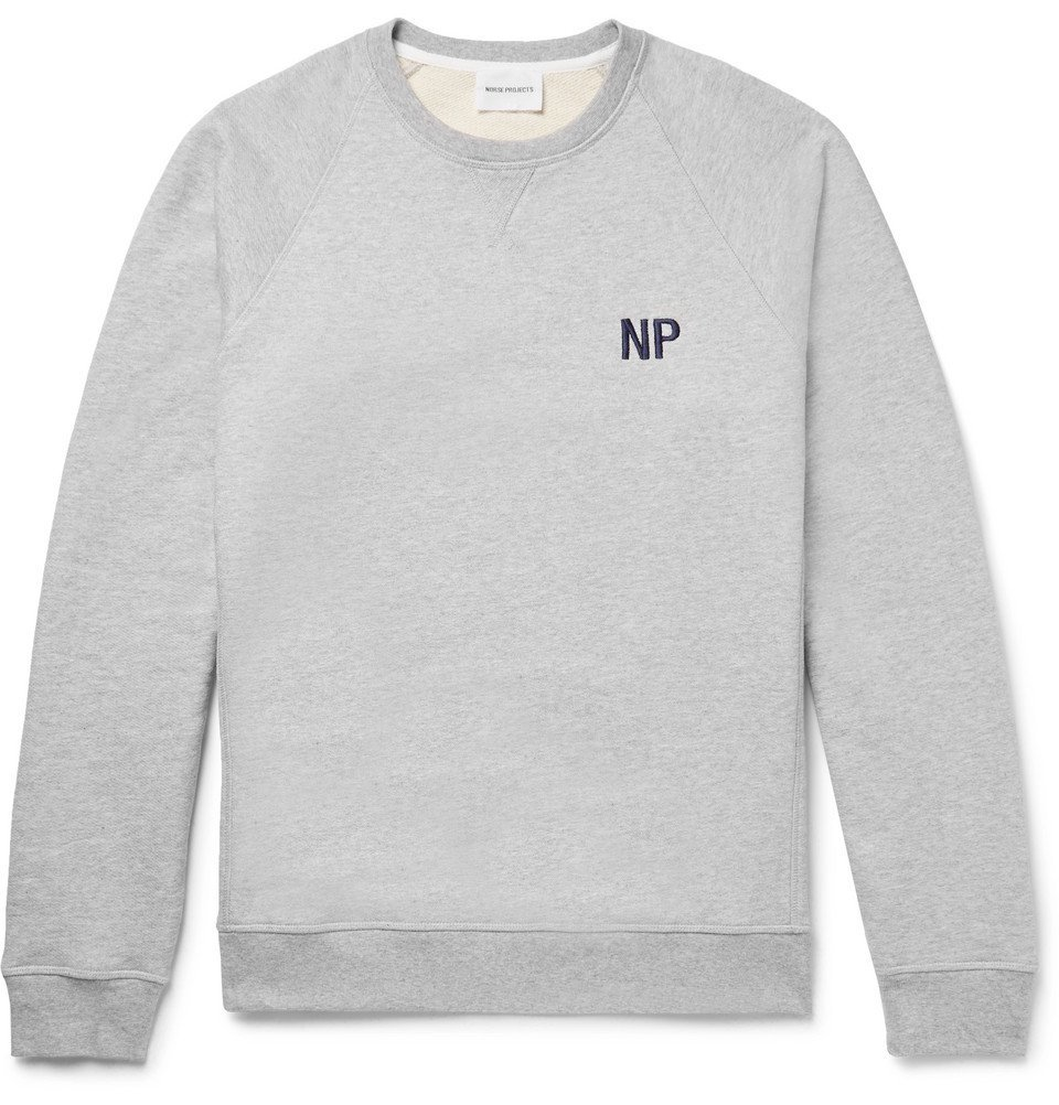 Photo: Norse Projects - Ketel Embroidered Loopback Cotton-Jersey Sweatshirt - Light gray