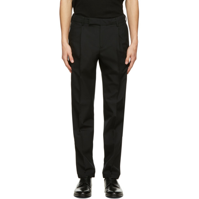 Dunhill Black Wool Single Pleat Trousers