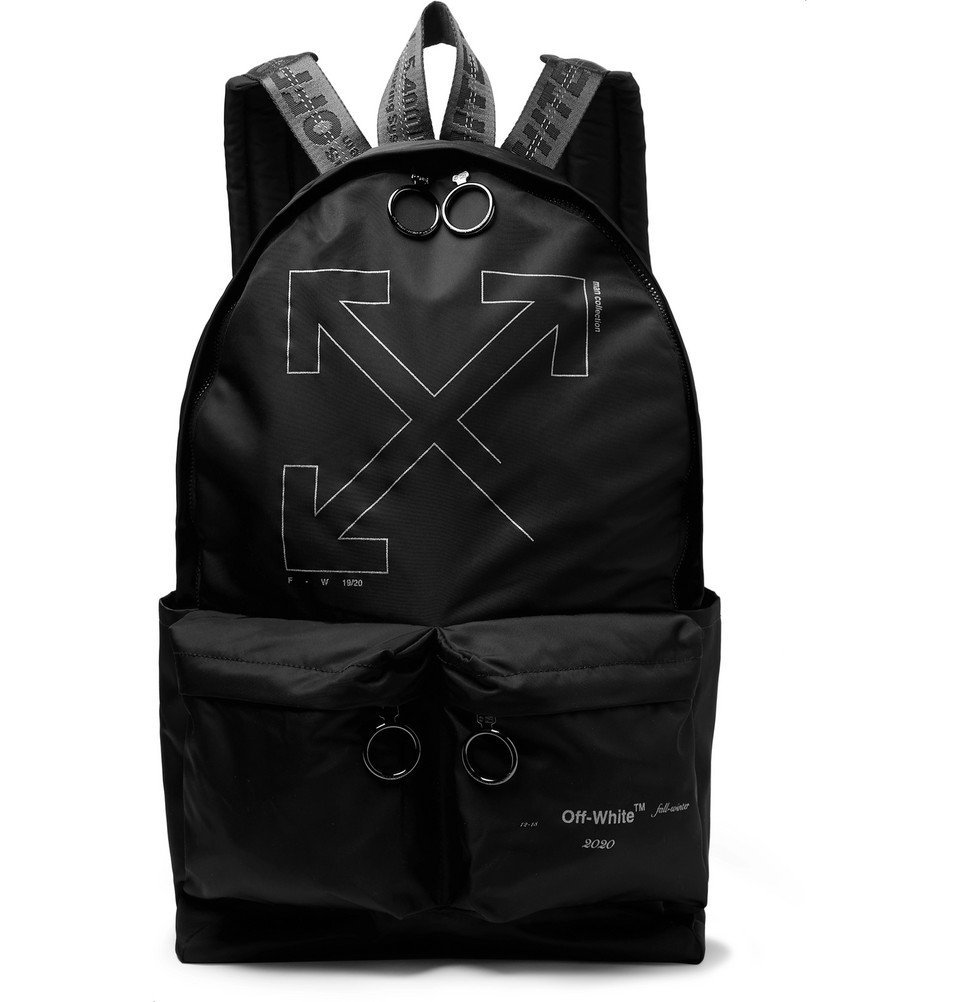 Photo: Off-White - Unfinished Logo-Print Shell Backpack - Black