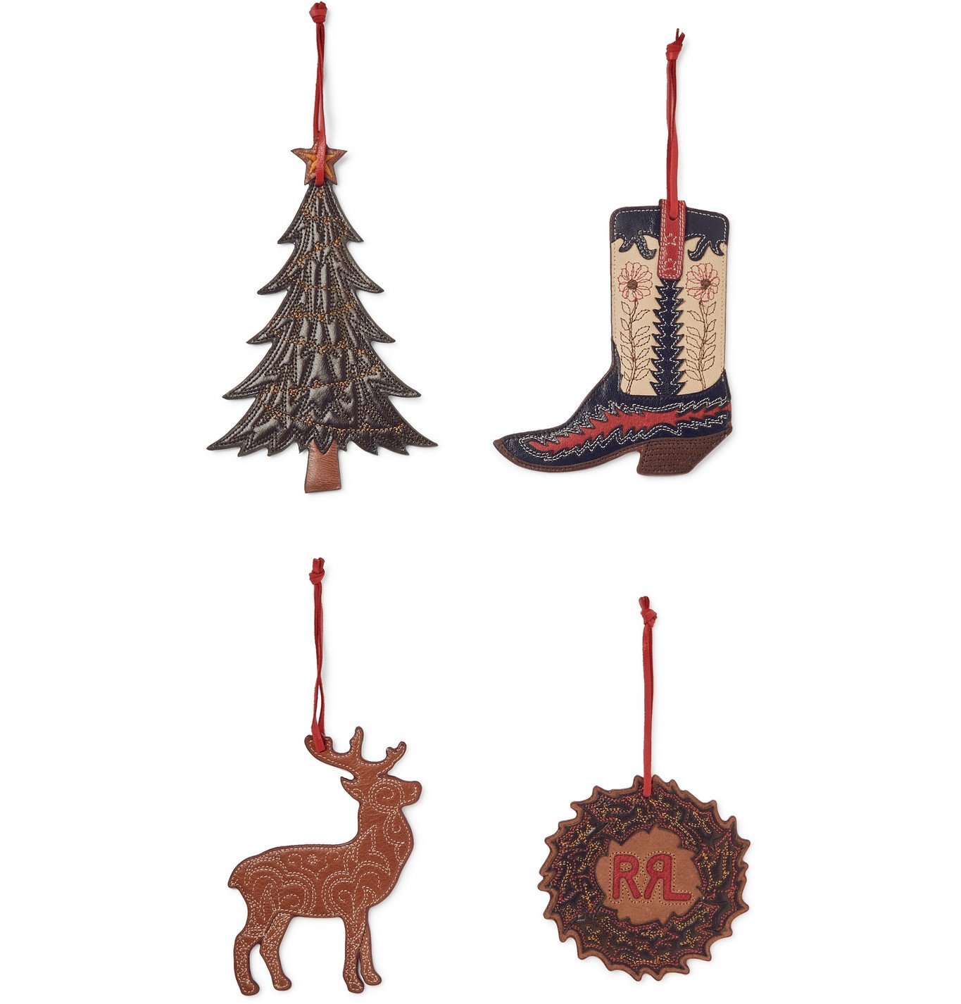 RRL - Set of Four Painted Leather Ornaments - Unknown