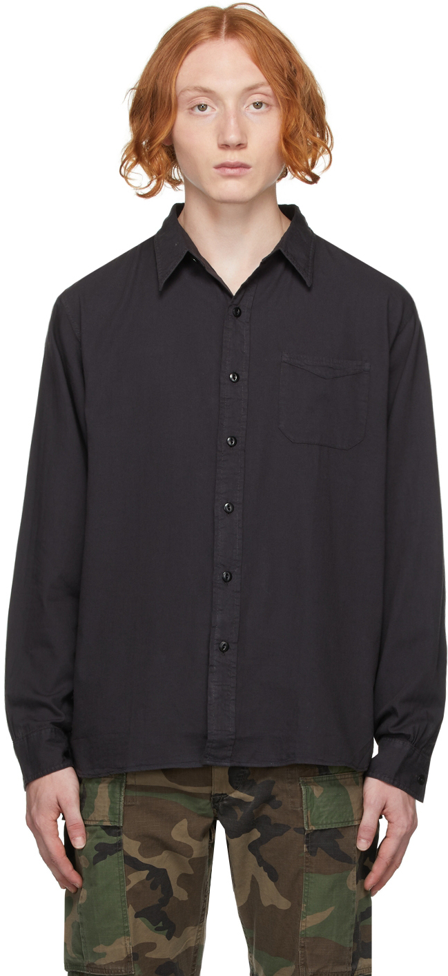 Photo: RRL Black Garment-Dyed Work Shirt