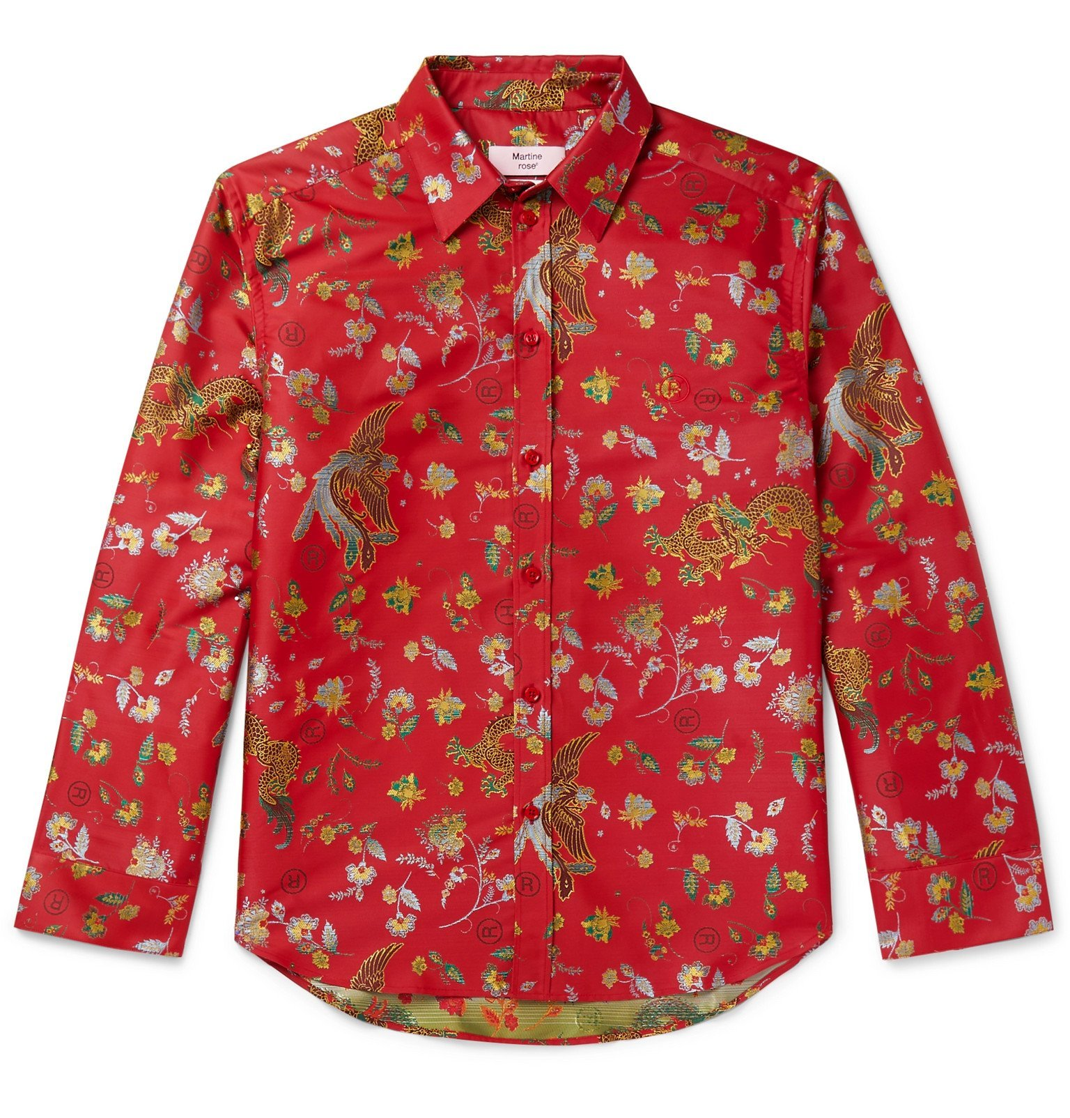 Photo: Martine Rose - Chaplin Satin-Jacquard Shirt - Red