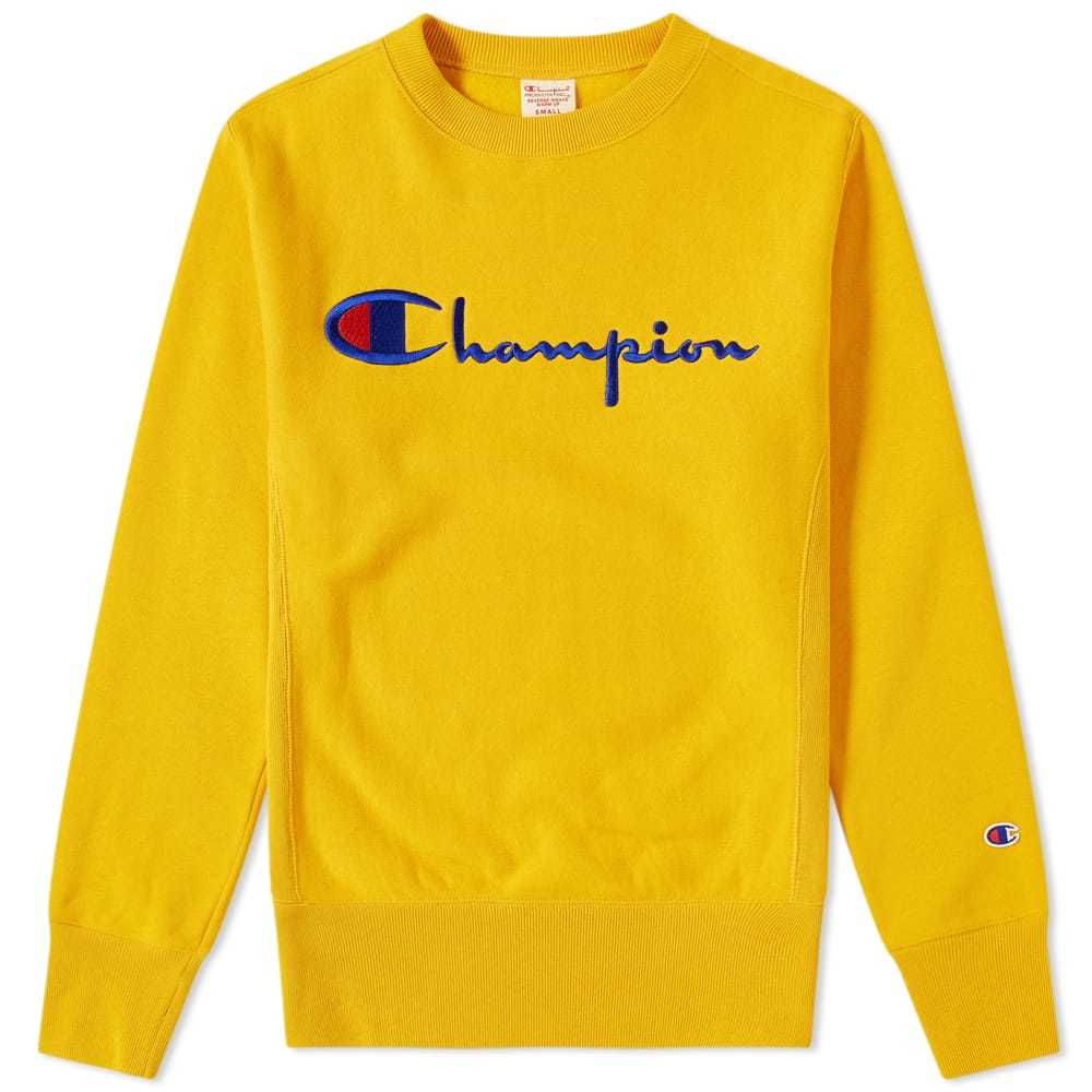 aa6307ef Champion Reverse Weave Script Logo Crew Sweat Yellow Champion ...