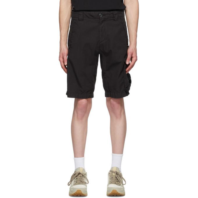C.P. Company Black Ripstop Lens Shorts