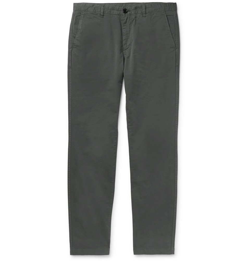 Photo: PS by Paul Smith - Anthracite Slim-Fit Brushed Cotton-Blend Twill Chinos - Gray
