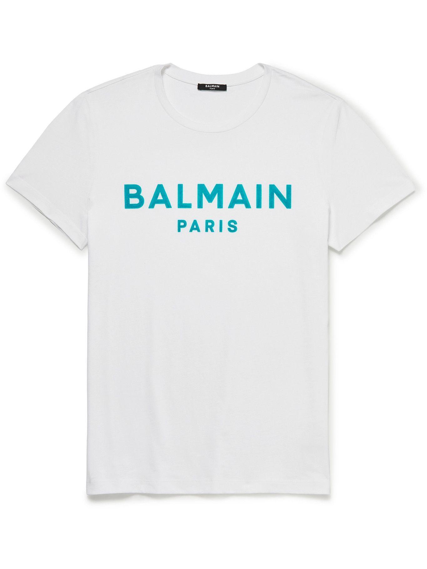 Photo: BALMAIN - Logo-Flocked Cotton-Jersey T-Shirt - White