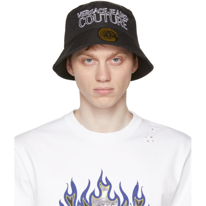 Photo: Versace Jeans Couture Black and White Logo Bucket Hat