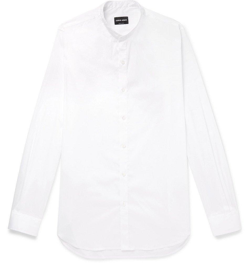 Giorgio Armani - Grandad-Collar Stretch Cotton-Blend Shirt - White