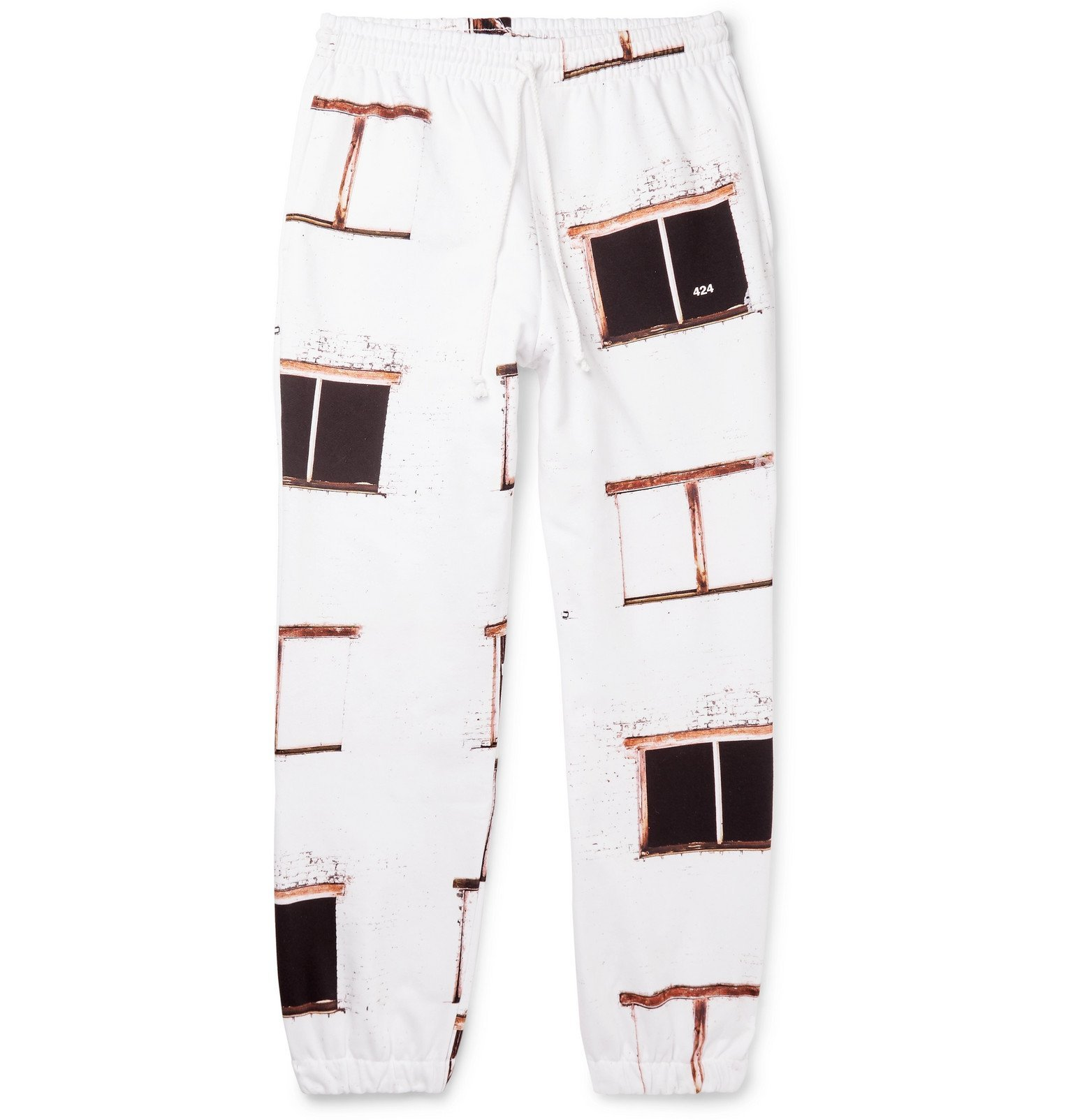 Photo: 424 - Printed Fleece-Back Cotton-Jersey Track Pants - White