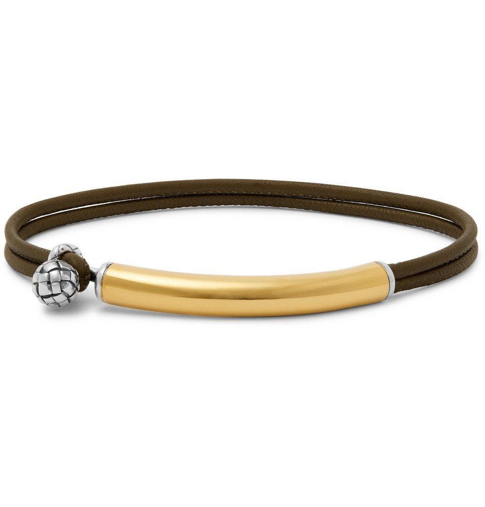 Bottega Veneta - Intrecciato Leather, Gold and Silver Bracelet - Men - Army green