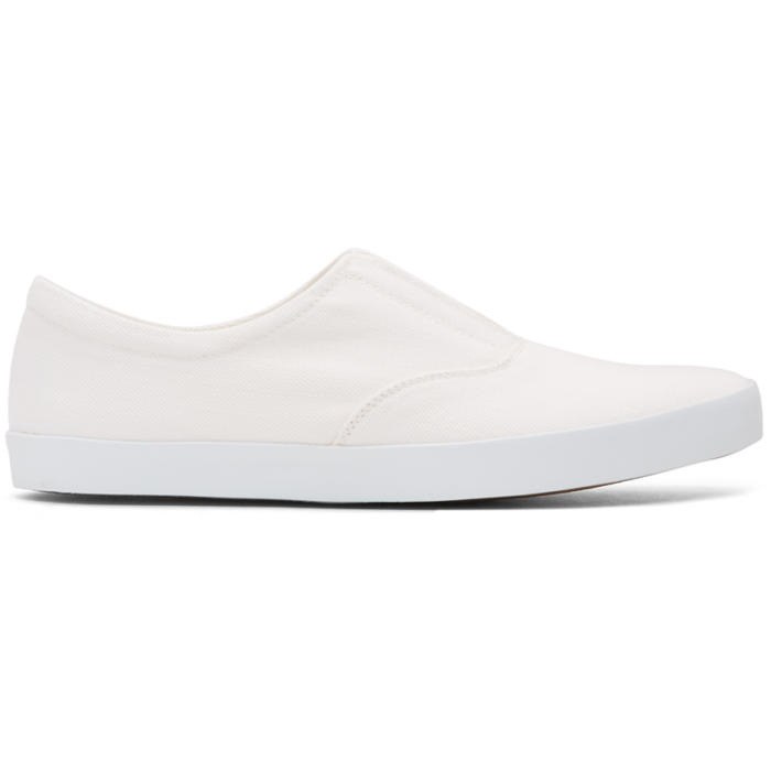 Photo: Lemaire Off-White Twill Slip-On Sneakers