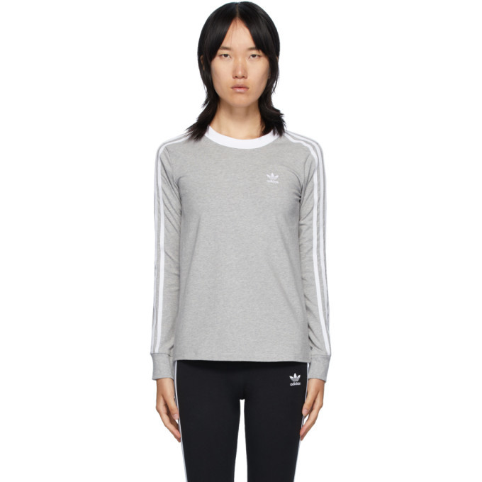 Photo: adidas Originals Grey 3-Stripes Long Sleeve T-Shirt