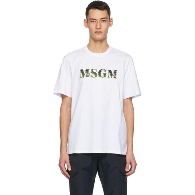 Photo: MSGM White Carnivore Plant Logo T-Shirt