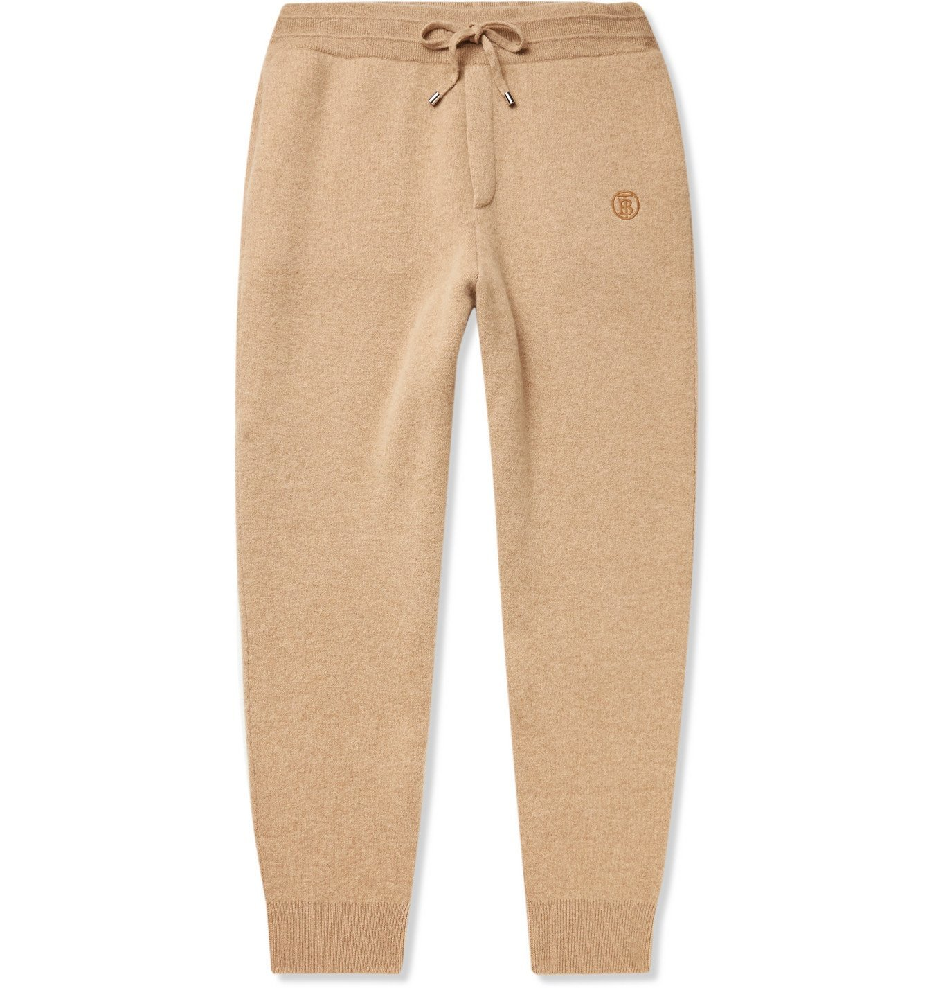 Photo: BURBERRY - Tapered Logo-Embroidered Cashmere-Blend Sweatpants - Neutrals