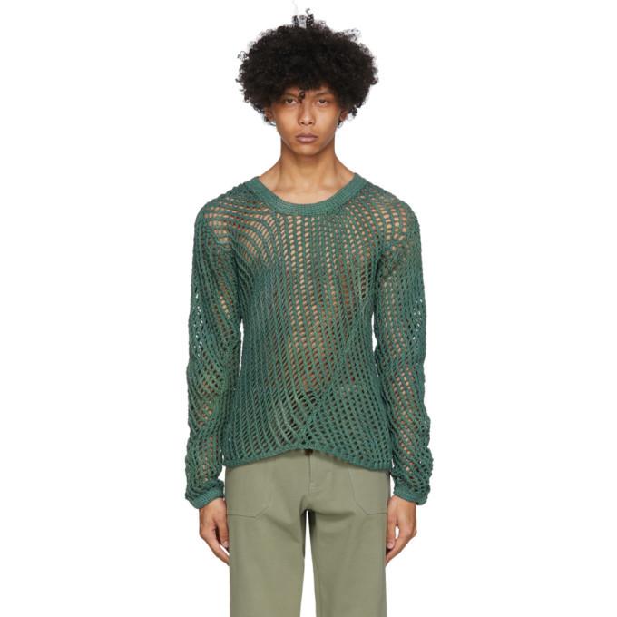 Photo: Nicholas Daley Green Tie-Dye Open Knit Sweater