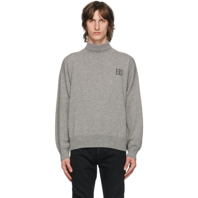Photo: Enfants Riches Deprimes Grey Cashmere Classic Logo Turtleneck