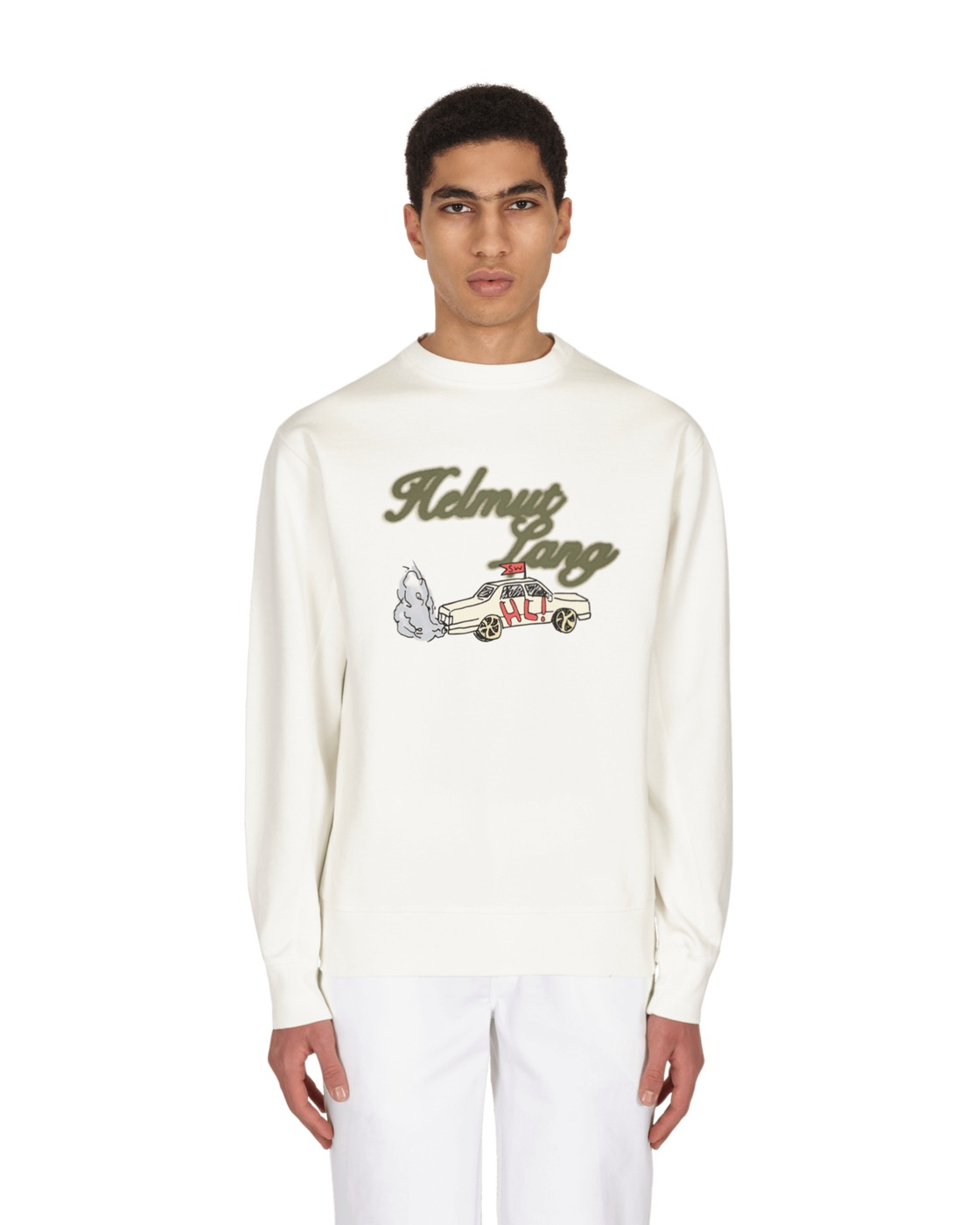 Photo: Helmut Lang Taxi Crewneck Sweatshirt Powdered Ecru