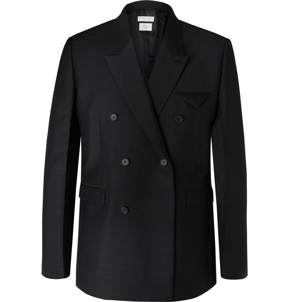 Photo: Bottega Veneta - Black Double-Breasted Worsted Mohair and Wool-Blend Blazer - Black
