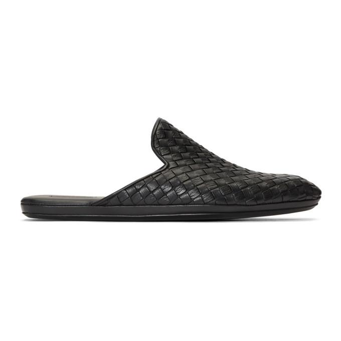 Photo: Bottega Veneta Black Leather Intrecciato Loafers