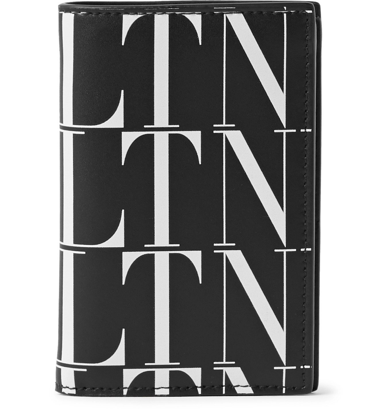 Photo: Valentino - Logo-Print Leather Bifold Wallet - Black