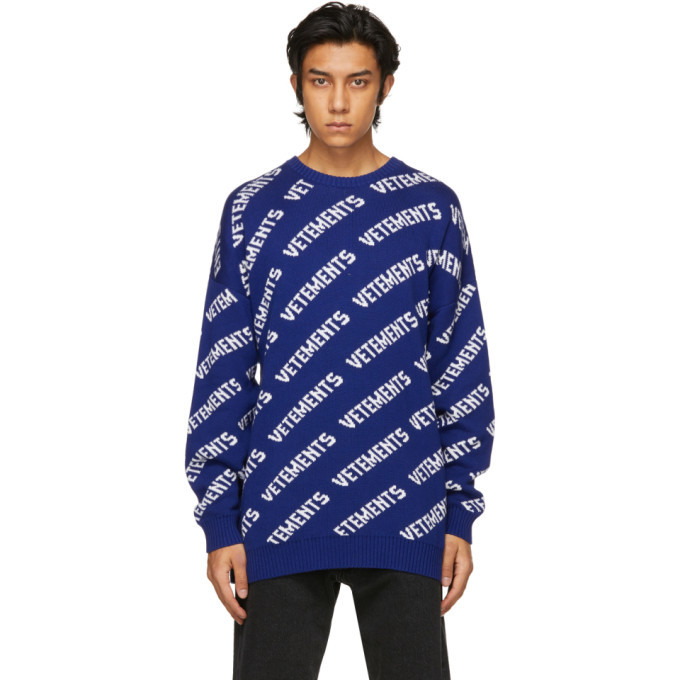 Photo: VETEMENTS Blue and White Allover Logo Sweater