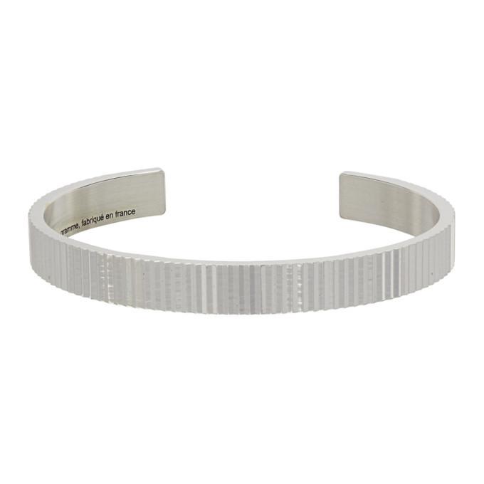 Photo: Le Gramme Silver Polished Vertical Guilloche Le 23 Grammes Ribbon Bracelet