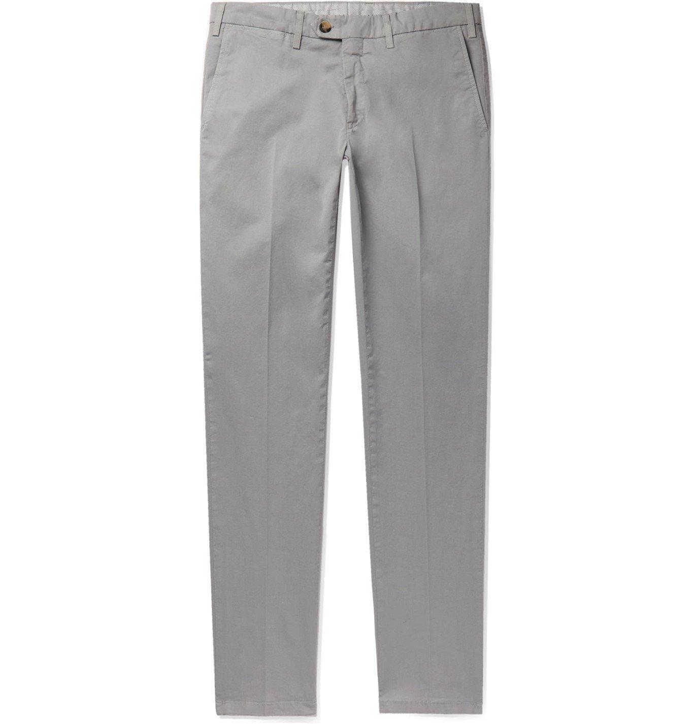 Photo: Canali - Slim-Fit Stretch-Cotton Twill Chinos - Gray